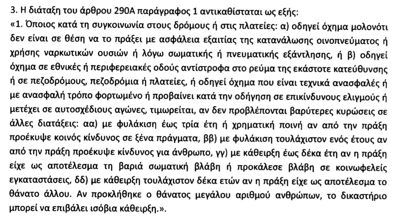 191102124333 poinikos kodikas 1280x712 - Ελλάδα: Μέχρι και ισόβια σε μεθυσμένους οδηγούς