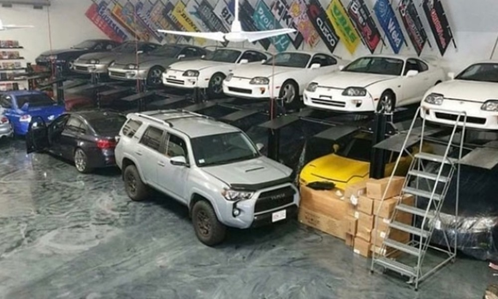 warehouse with cars